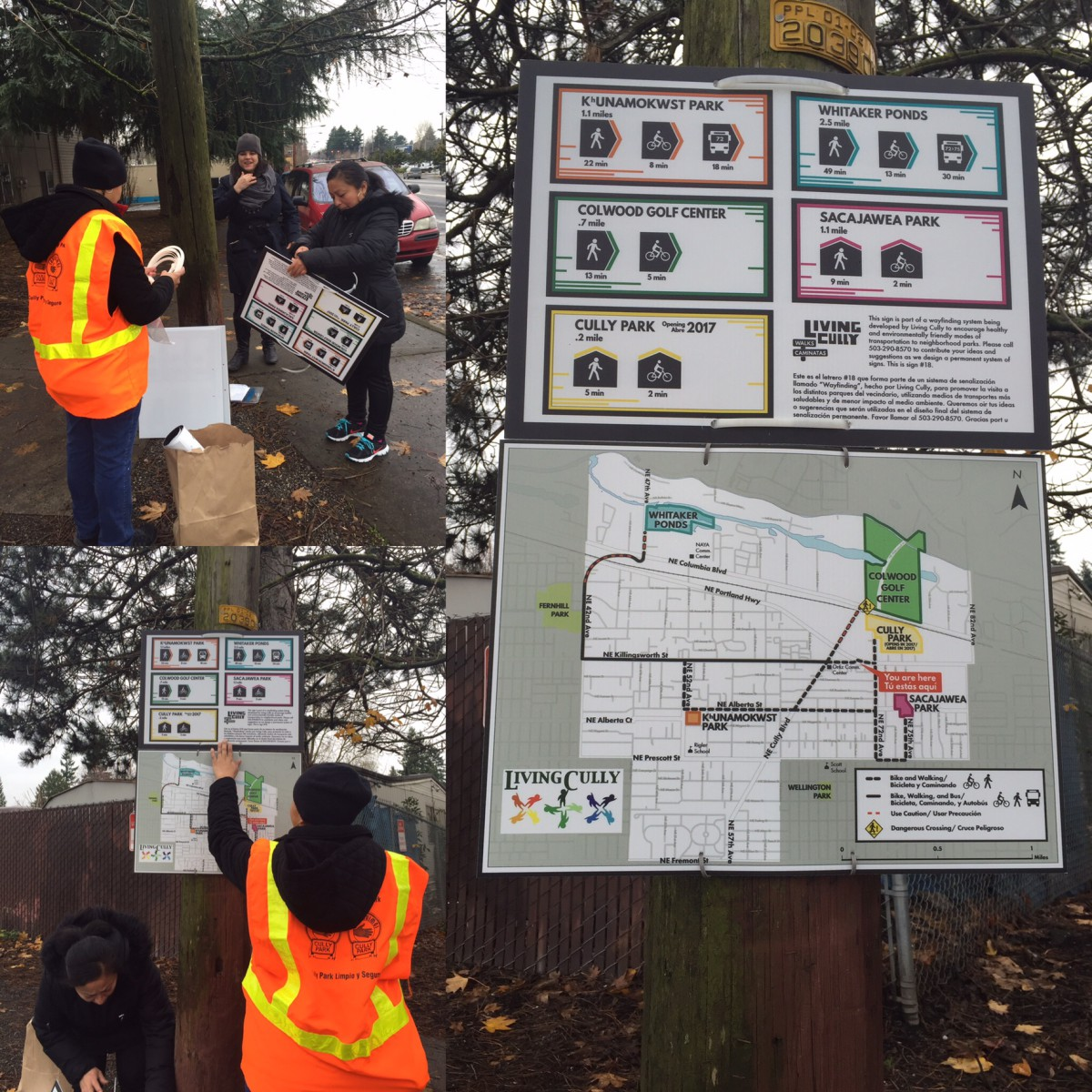 """Sistema de señalamientos de """"Wayfinding"""" para el vecindario Cully"""